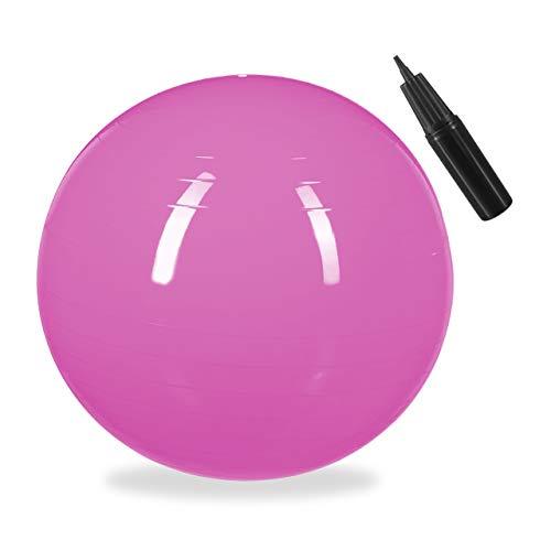 Relaxdays Unisex– Erwachsene Gymnastikball, Fitnessball Yoga & Pilates, Sitzball Büro, Balance Ball inklusive Luftpumpe, Ø 65 cm, pink, 1 Stück