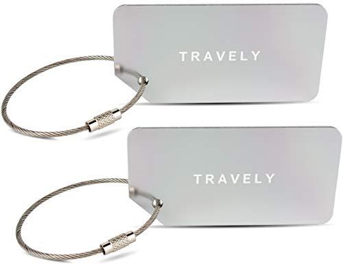 Travely - Premium Kofferanhänger - extra sichere Anhänger für das Gepäck - inklusive Namensschild - 2er Set - Silber