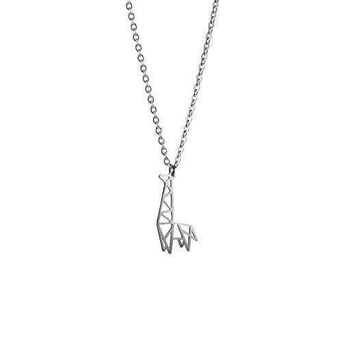 La Menagerie Jirafa Plata, Joya de Origami & Collar geométrico Plata Mujer - Collar bañado en Plata de Ley 925 con diseño Animal Jirafa - Joyería para niñas y Mujeres