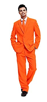 U LOOK UGLY TODAY Men s Party Suit Solid Color Prom Suit for Themed Party Events Clubbing Jacket with Tie Pants Fluorescent Orange-Large