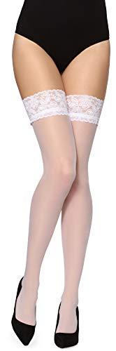 Merry Style Donna Calze Autoreggenti MS 209 (Bianco, M-L)