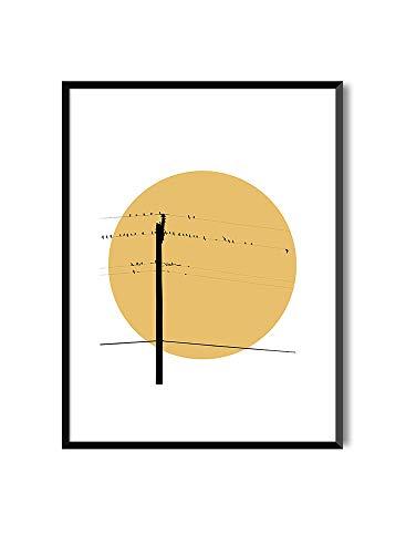 MILUKA Láminas Decorativas para enmarcar colección Birds AT Sunset | Póster Pájaros Relajante Sunmer Sunset | Varios Tamaños … (con Marco Negro, 30 x 40)
