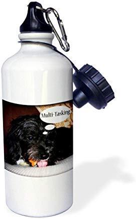 GFGKKGJFD612 WhiteOaks Fotografía e ilustración – Humor de perro – Multi tarea es una foto de un perro masticando una galleta y mostrando lengua de aluminio blanco botella de agua deportiva novedad regalos