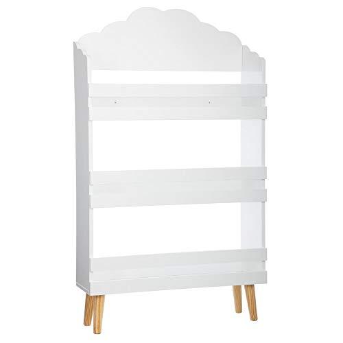 Libreria con 3 scaffali in legno - Motivo a nuvola - Colore: BIANCO