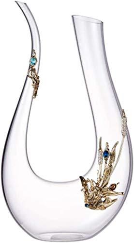 Decantador de vino de cristal hecho a mano, Aireador de decantador de vino, carafas de respiración de vino 1.5L, vidrio de cristal sin plomo, esmalte pintado, regalo para navidad, acción de gracias (T