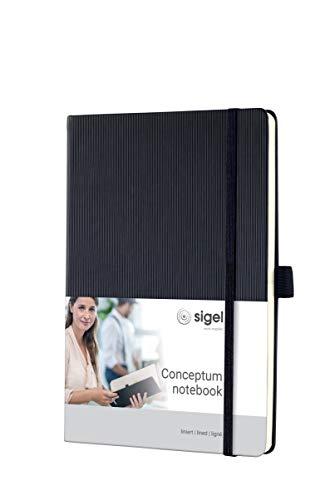 SIGEL CO122 Notizbuch ca. A5, liniert, Hardcover, schwarz, 194 Seiten, Conceptum - weitere Farben
