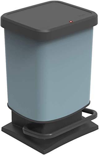 Rotho Paso Mülleimer 20l mit Deckel, Kunststoff (PP recycelt) BPA-frei, blau, 20l (29,3 x 26,6 x 45,7 cm)