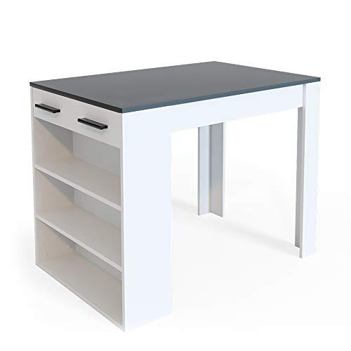 Vicco Bartisch Esstisch Tisch Bistrotisch Essplatz Schublade Regal Bar Weiß wahlweise mit Barhocker (Weiß-Anthrazit ohne Barhocker)