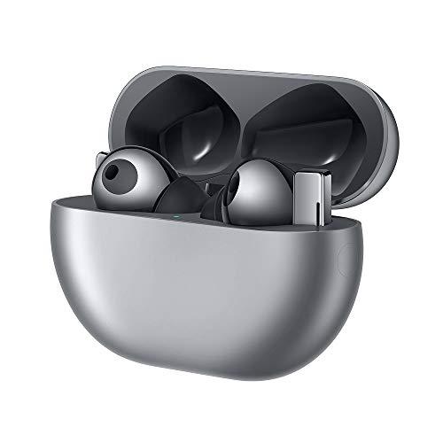 HUAWEI FreeBuds Pro kabellose Kopfhörer mit Intelligentem Active Noise Canceling (ultra schnelle Bluetooth-Verbindung, 11mm Lautsprecher, kabelloses Aufladen) + 5EUR Amazon Gutschein, Silver Frost