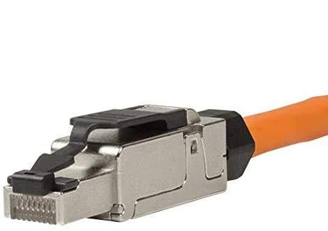 odedo 4X CAT 6A & 7 RJ45 Crimp Stecker Netzwerkstecker bis 10 Gigabit für Verlegekabel Netzwerkkabel, werkzeugfreie Montage Crimpstecker Cat7