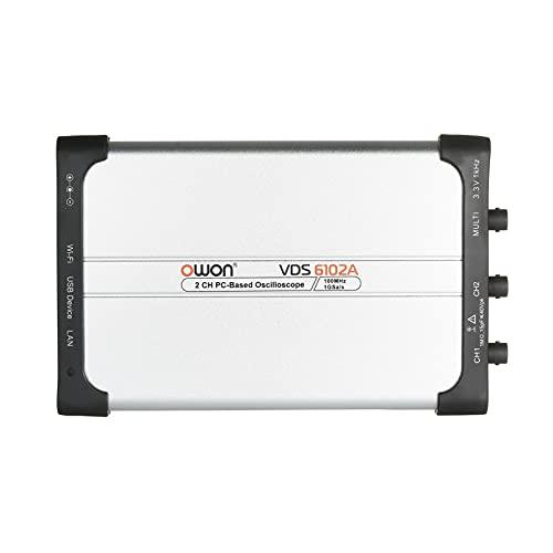 Explopur Osciloscopio Virtual VDS6102A USB para PC, 2 Canales, 100, 1Gsa / s, 14bits, osciloscop USB Digitales portátiles ADC Tipo C, osciloscop para PC