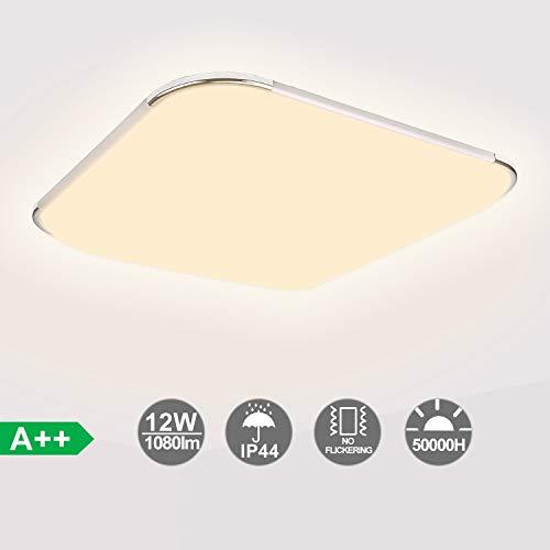 Hengda 12W LED Deckenleuchte Bad, 1080LM Badezimmerleuchte, Led Deckenlampe ersetzt 100W Glühlampe, 3200K Warmweiß LED Panel Balkonleuchte, Blendfrei