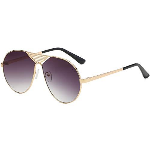 SHEEN KELLY Retro Pilot Sonnenbrille übergroße Metallrahmen Sonnenbrille für Männer Frauen UV400 Schutz Vintage