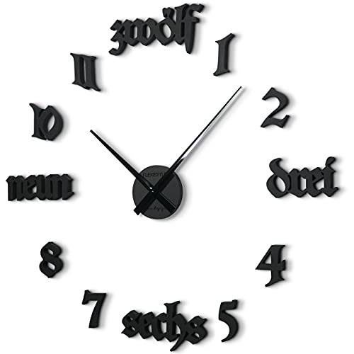 Reloj de pared grande clásico para pegar FRAKTUR negro o gris, diámetro 100 cm – 130 cm, XXL para salón, dormitorio, pasillo, oficina (negro)