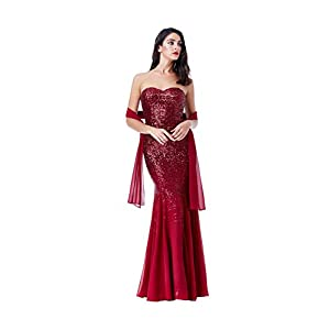 Goddiva Red Strapless Sequin Chiffon Inserts Maxi Dress-Wrap Bridesmaid Party
