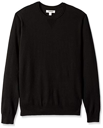 Amazon Brand - Goodthreads Men's Lightweight Merino Wool Crewneck Sweater, Black, XX-Large