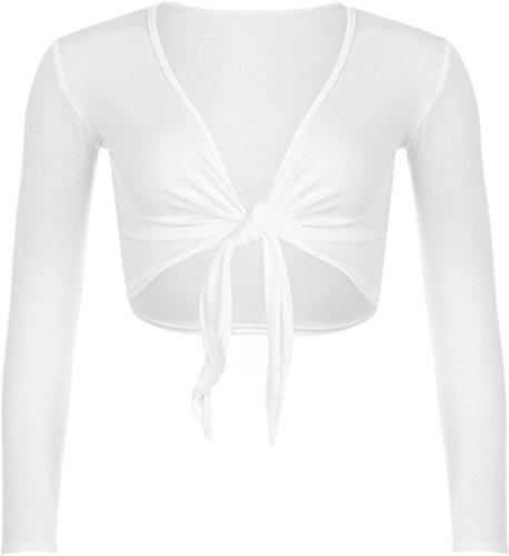 WearAll - Neu Damen Achselzucken Binden Langarm Top - Weiß - 36-38