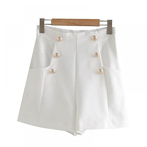 LJLLINGB Mujer con botonesbolsillosbermudaspantalones Cortos Vintage de Cintura Alta con Cremallera Lateral para Mujer