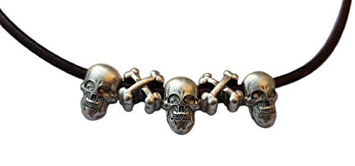 Eurofusioni Calavera Colgante Hombre con Collar. Tres Charms Skulls chapeada Plata. Original Idea de Regalo. Joya Artesanal, Modelo único. H Colgantes 1.50 cm