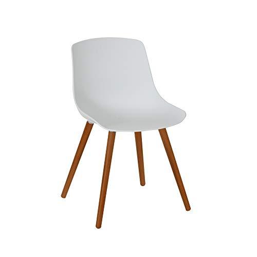 Greemotion 129501 Gartenstuhl Halifax aus Kunststoff in Weiß-Stuhl mit Holzbeinen für Garten, Balkon & Terrasse-Gartensessel im Retro Look-Lounge Sessel modern, 5,2 x 6 x 8 cm