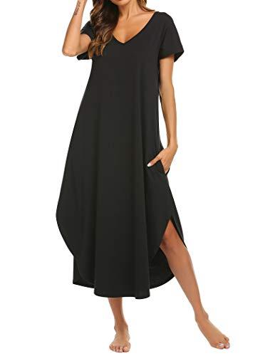 Ekouaer Plus Size Nightgown Women Cotton Knit Sleepwear Comfort Loose Lounge Dress (Black,XXL)