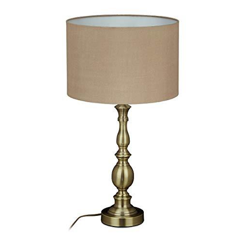 Relaxdays Lámpara de mesa, pantalla de tela, casquillo E27, para salón y dormitorio, lámpara de noche vintage, 57 x 30,5 cm, color...