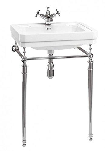Casa Padrino Jugendstil Stand Waschtisch Weiß/Chrom Mod4 - Art Deco Waschbecken Barock Antik Stil