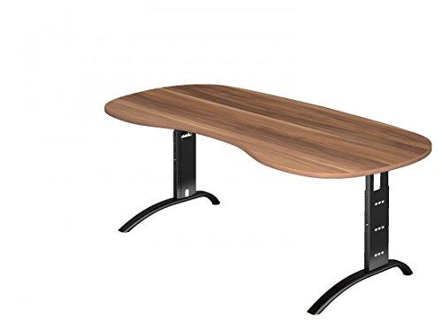 Nierenförmiger Schreibtisch DR-Büro Serie F - 200 x 100 - einstellbar 65 bis 85 cm - 7 Farben - Kabelwanne, Farbe:Zwetschge