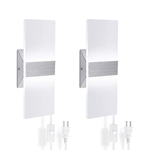 Wall Sconces Set of Two, Plug in Wall Sconces 15W Cool White Sconces Wall Lighting with 170cm Plug...