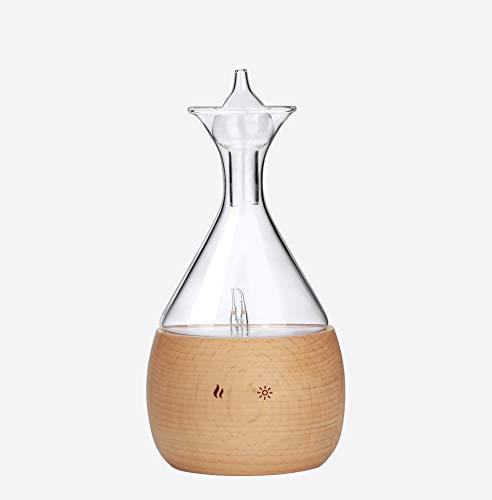 Difusor de Aromas – Nebulizador madera de haya con Vidrio -Difusor Aromaterapia sin Agua – sin contacto con plásti-cos – Vaporizador de Aceites Esenciales Doméstico y Profesional.