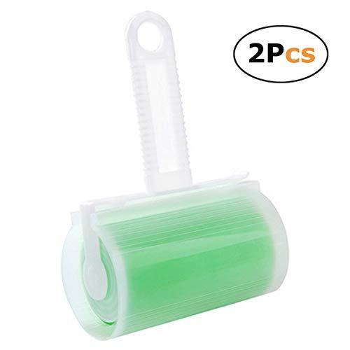 Collant Lint Rouleau Pet Hair Remover facile à enlever Feuilles Brosse réutilisable lavable 2 pcs Green