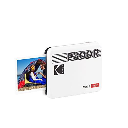 Kodak Mini-3-Retro-Fotodrucker, tragbar, iOS, Android und Bluetooth, 7,6 x 7,6 cm, 4Pass-Technologie und Laminierung, Weiß, 8 Blatt