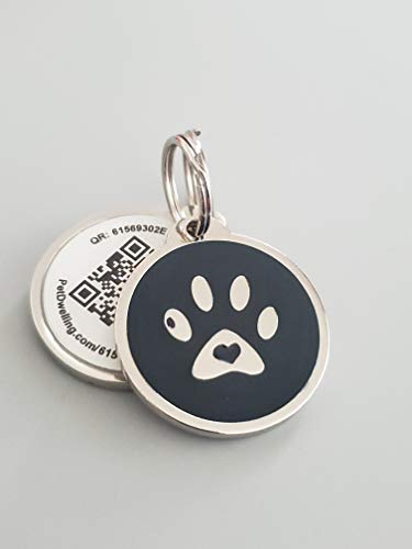 PetDwelling Advanced Black Paw QR Code Pet ID Tag Links to Online Profile/Emergency Contact/Medical Info/Google Map Location Stamp