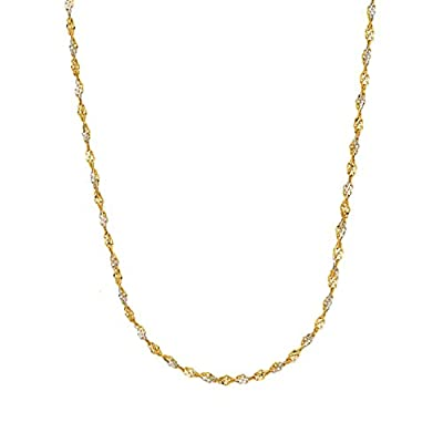 14k Gold Yellow and White Two Tone Singapore Chain Necklace 1.35 mm