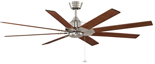 Fanimation F97910BN - 63 inch - Levon Ceiling Fan with Walnut Blades and Pull Chain, Brushed Nickel