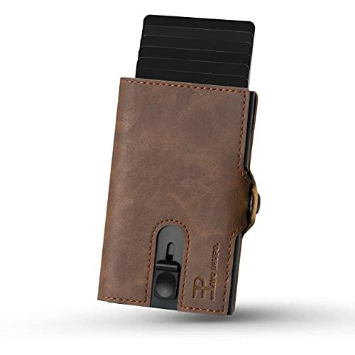 PAVO EQUIPO Slim Wallet   Kartenetui   Kartenetui mit Geldclip und Münzfach  Geldbörse   RFID Schutz  Mini Portemonnaie (Dunkelbraun)