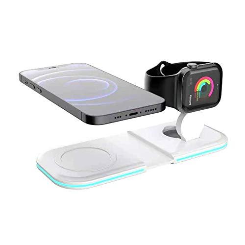 ALLWIN Cargador Inalámbrico 2 En 1, Base De Cargador Dual Qi De 15W, para iPhone 12 Mini Pro MAX para Apple Watch Airpods