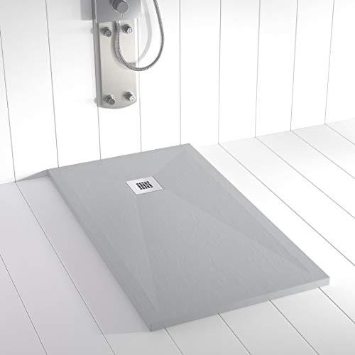 Shower Online Plato de ducha Resina PLES - 80x90 - Textura Pizarra - Antideslizante - Todas las medidas disponibles - Incluye Rejilla Inox y Sifón - Gris RAL 7035