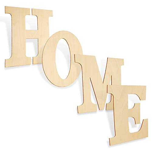 12 Inch Wooden Letters'Home' -Unfinished Blank Wood Letters for Home Signs and Wall Decor