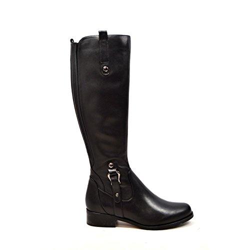 "SoleMani Venetian Slim Calf Women's Leather Boot 13""-14"" Calf Size Black"