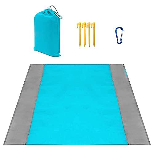 Stranddecke,Picknickdecke Wasserdicht 200x210 cm,Strandmatte Sandfrei,4 Befestigung Ecken Windschutz Strandtuch XXL für den Strand,Campen und Picknick (Blau und Grau)