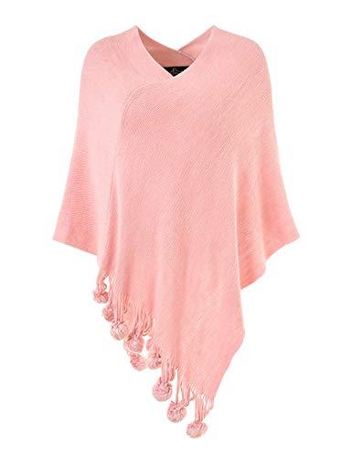 Ferand Damen Gemütlicher Warmer Poncho Pullover mit Mehrweg-Ausschnitt und Süßen Bommeln, One Size, Pink