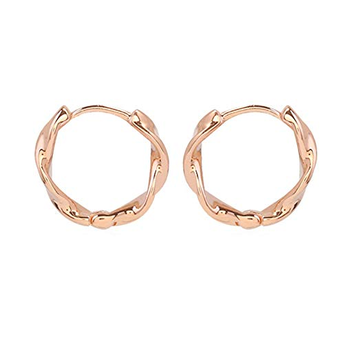 Pinkgreen Silver Stud Earrings Small Creoles 1 Pair 925 Sterling Silver Geometry Earrings Hypoallergenic Cartilage Tragus Studs Mini Creoles for Women, Thick 3mm, Diameter 12 mm (Rose gold)