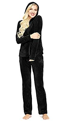 Dolcevida Women's Active Solid Velour Tracksuit Zip up Hoodie & Pullover Sweatshirts and Sweat Pant Sweatsuit (Full Zip Top-Black, XXL)