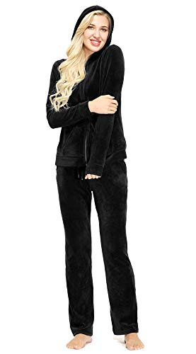 Dolcevida Women's Velour Tracksuits 2 Piece Outfits Hoodie & Sweatpants Sweatsuit Set, Full Zip-black, Medium