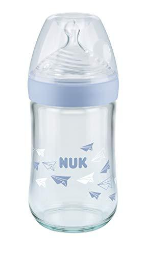 NUK Nature Sense - Biberón de cristal con tetina de silicona similar al pecho, 240 ml, color azul