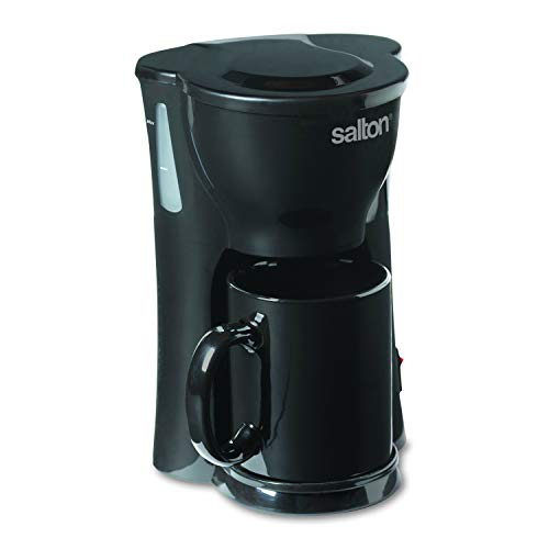 Salton 1 Cup Mini Compact Drip Maker with Reusable Mesh Filter for Coffee Grounds, 10 Oz, Black