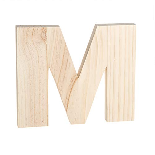 Darice Unfinished Wood Letter: M, 8 x 8 inches, Natural