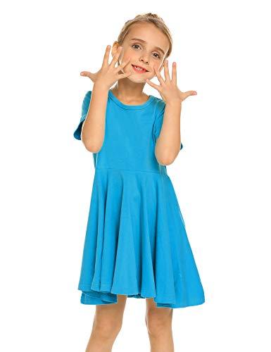 Trudge Mädchen Swing Kleider für Kinder Sommerkleid Hem Skaterkleid Kurzarm T Shirt Kleid Baumwolle Prinzessin Kleid einfarbig Basic FatternKleid Rundhals Freizeitkleidung Gr.92-164, Dunkelblau, 140