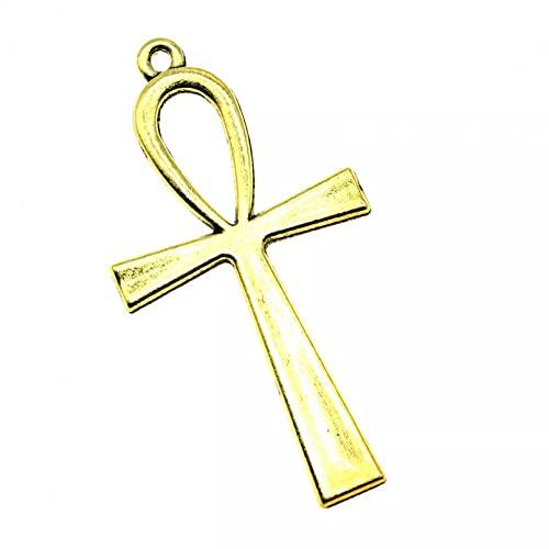LLBBSS 8 Piezas Que Hacen DIY Encantos Artesanales Hechos A Mano Color Oro Antiguo 2.1X1.1 Pulgadas (52X28 Mm) Colgante Cruzado
